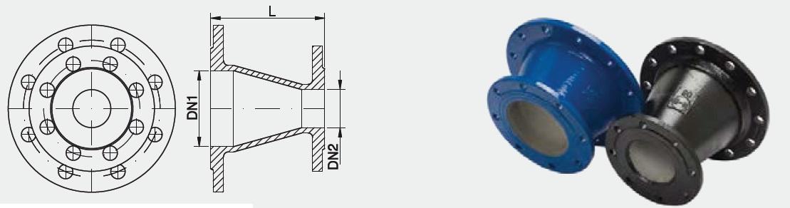 Riduzione concentrica a due flange FFR