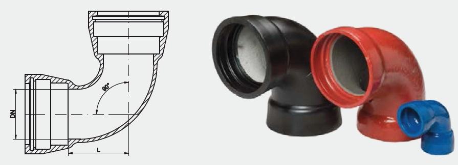 Curva 90° a due bicchieri MMQ
